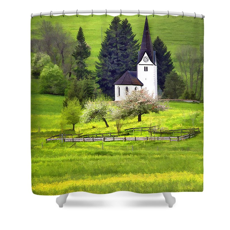 Church Shower Curtain featuring the photograph Little White German Church by Sharon Foster