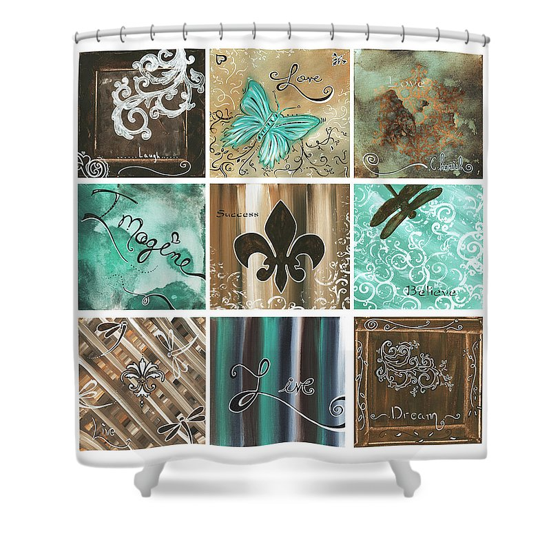 Abstract Shower Curtain featuring the painting Live And Love By Madart by Megan Duncanson