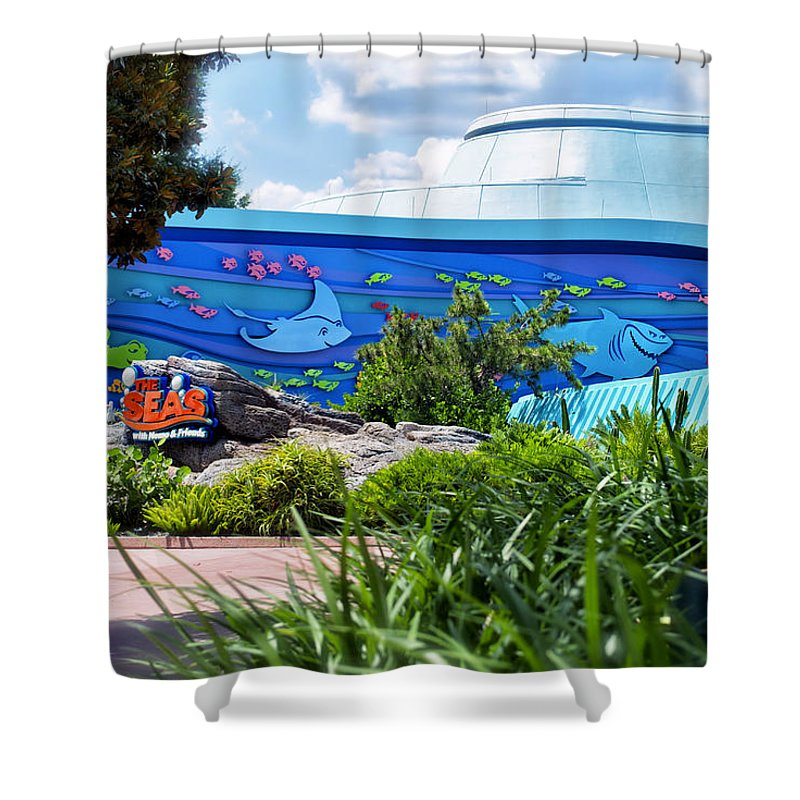 Living Seas Shower Curtain featuring the photograph Living Seas Signage Walt Disney World by Thomas Woolworth