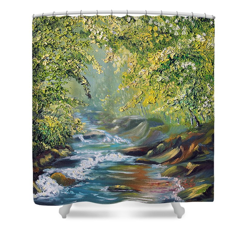 Nature Shower Curtain featuring the painting Living Water by Meaghan Troup