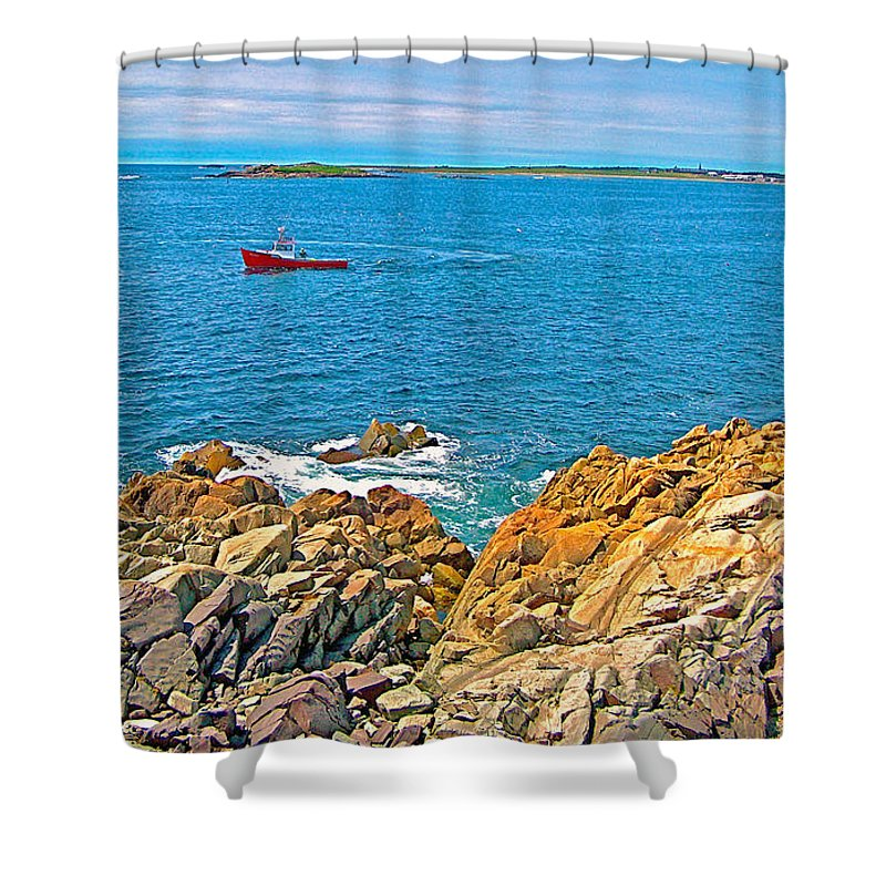 Lobster Boat Checking Traps In Louisbourg Bay Off Cape Breton Island Shower Curtain featuring the photograph Lobster Boat Checking Traps In Louisbourg Bay-ns by Ruth Hager
