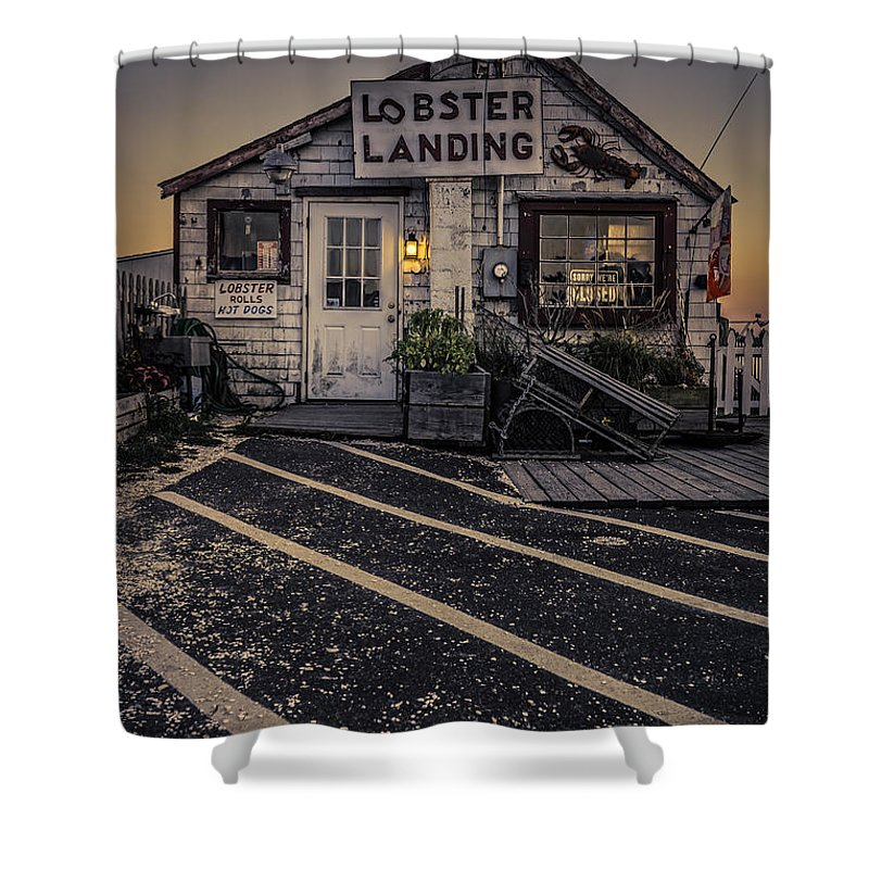 Clinton Shower Curtain featuring the photograph Lobster Landing Shack Restaurant At Sunset by Edward Fielding