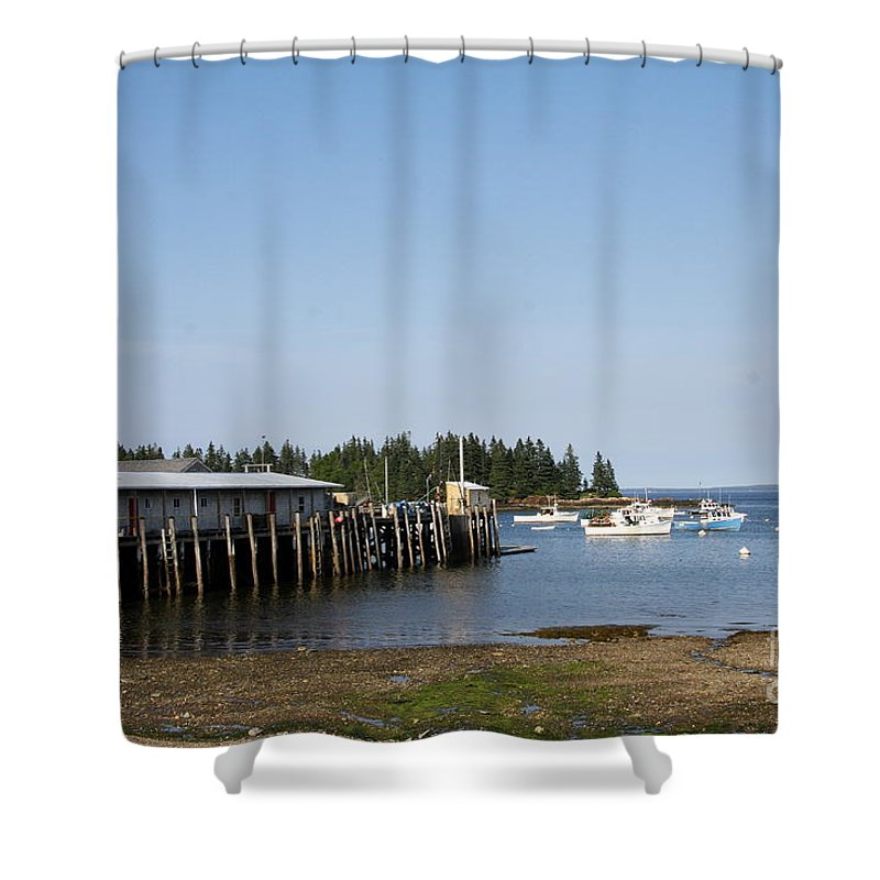Port Shower Curtain featuring the photograph Lobster Wharf by Christiane Schulze Art And Photography