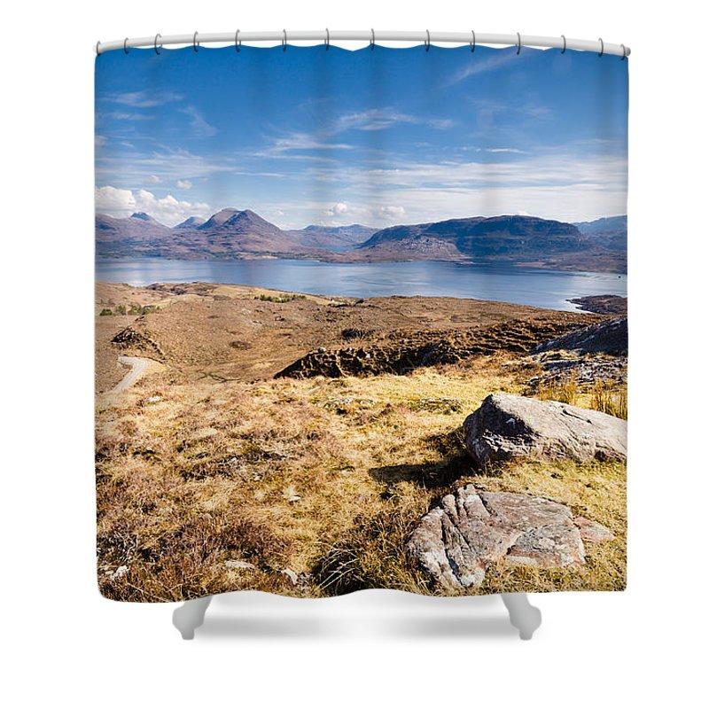 Beinn Damph Shower Curtain featuring the photograph Loch Torridon From Bealach Na Gaoithe by David Head