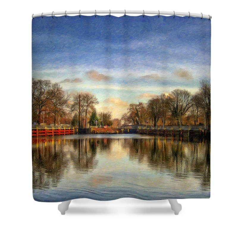 Lock Shower Curtain featuring the painting Lock Ger5079 by Dean Wittle