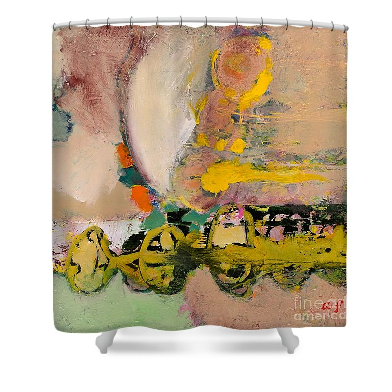 Landscape Shower Curtain featuring the painting Locomotion by Allan P Friedlander