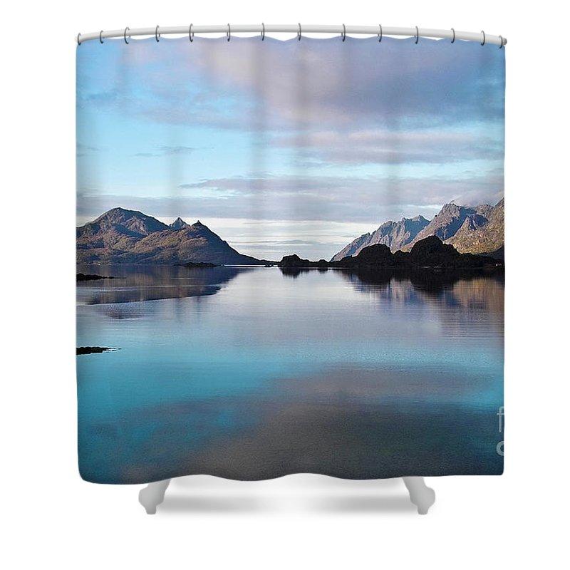 Seascape Shower Curtain featuring the photograph Lofoten Islands Water World by Heiko Koehrer-Wagner