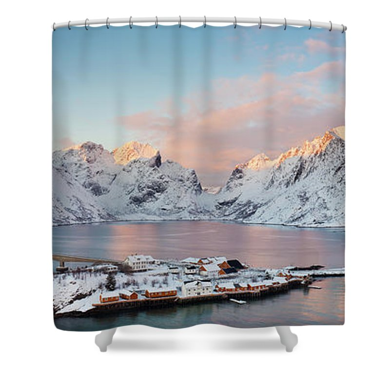 Tranquility Shower Curtain featuring the photograph Lofoten Islands Winter Panorama by Esen Tunar Photography
