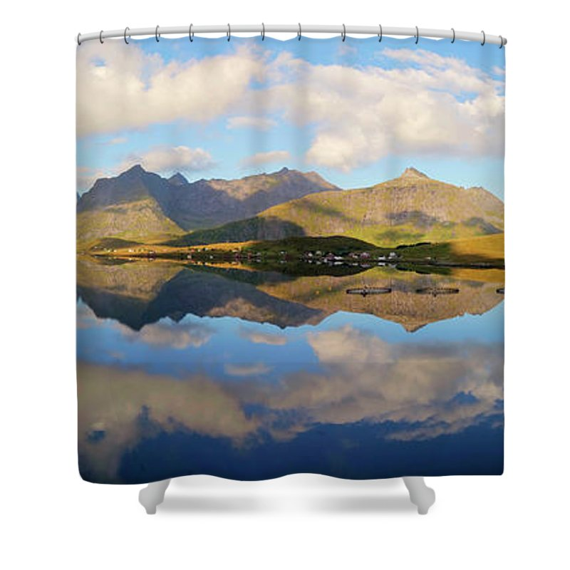 Shoreline Shower Curtain featuring the photograph Lofoten Panorama Selfjorden Norway by Heiko Koehrer-Wagner