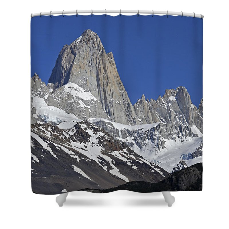 Argentina Shower Curtain featuring the photograph Lofty Mount Fitz Roy by Michele Burgess