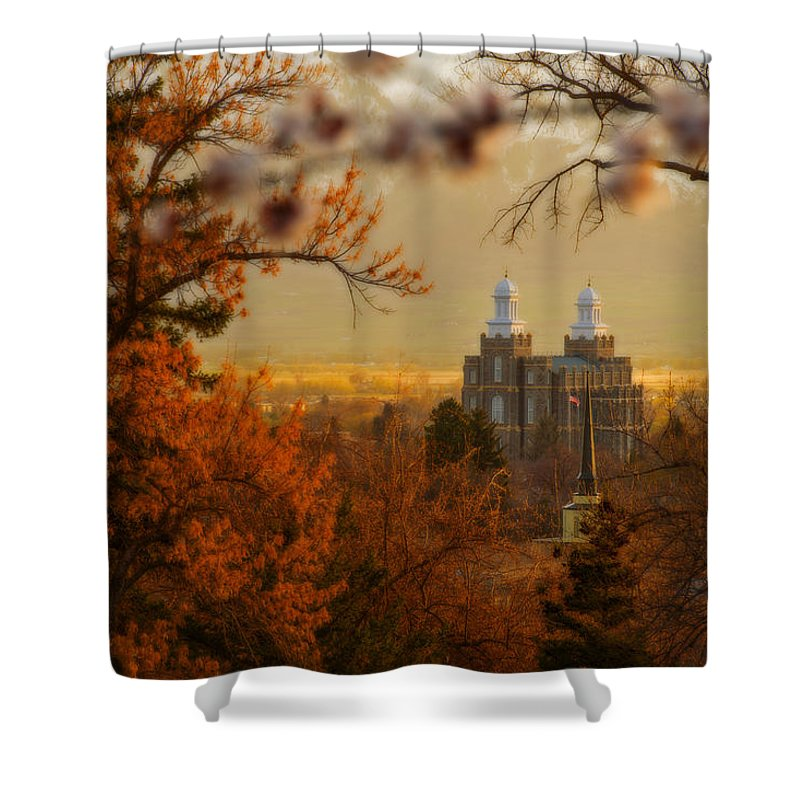 Utah Shower Curtain featuring the photograph Logan Temple by Dustin LeFevre