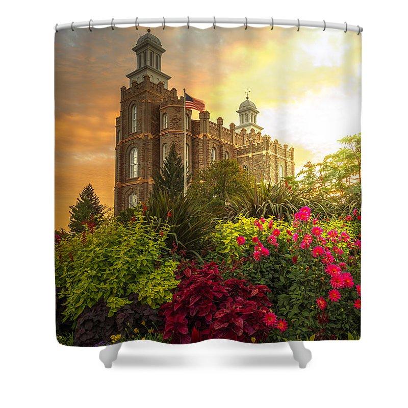 Logan Temple Shower Curtain featuring the photograph Logan Temple Garden by Dustin LeFevre