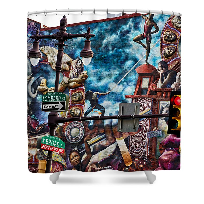 Philadelphia Mural Shower Curtain featuring the photograph Lombard And Broad by Alice Gipson