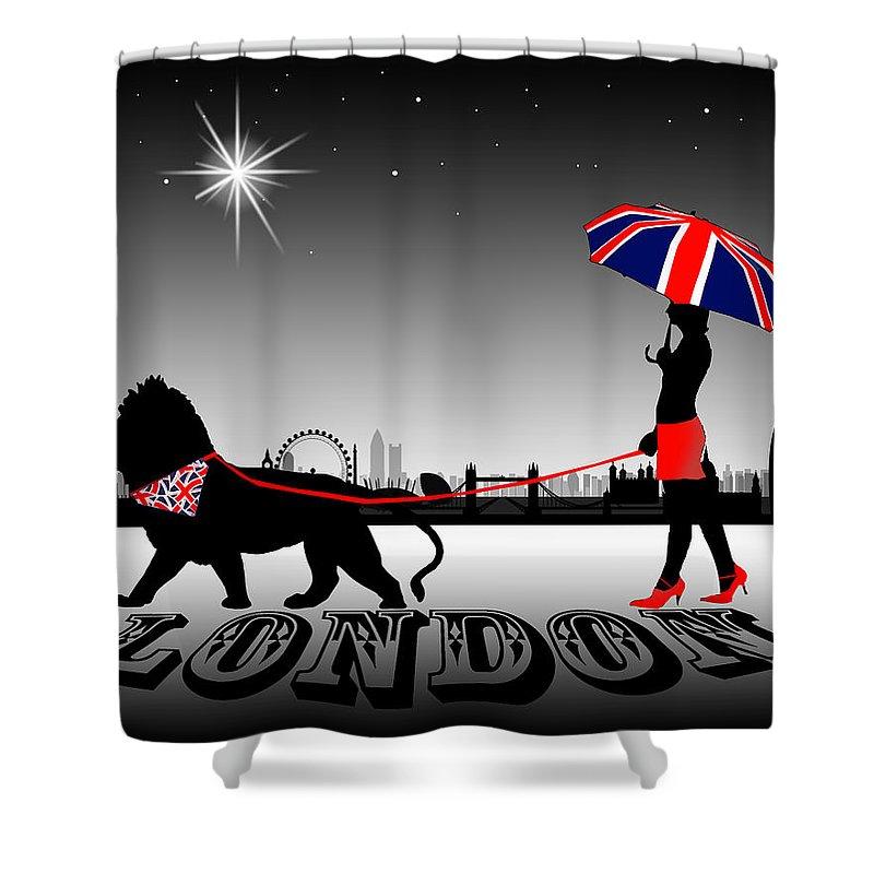 Fashion Shower Curtain featuring the digital art London Catwalk Queen Too by Peter Stevenson