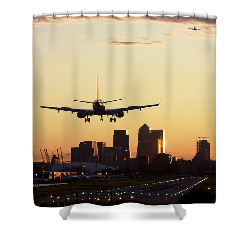 Taking Off Shower Curtain featuring the photograph London City Airport by Greg Bajor