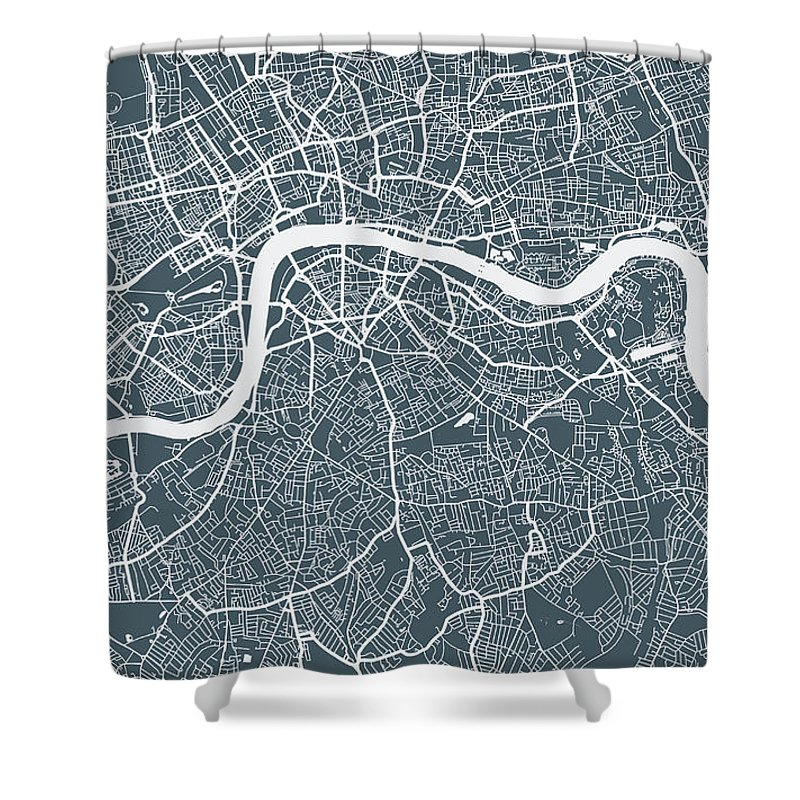 Art Shower Curtain featuring the digital art London City Map by Mattjeacock
