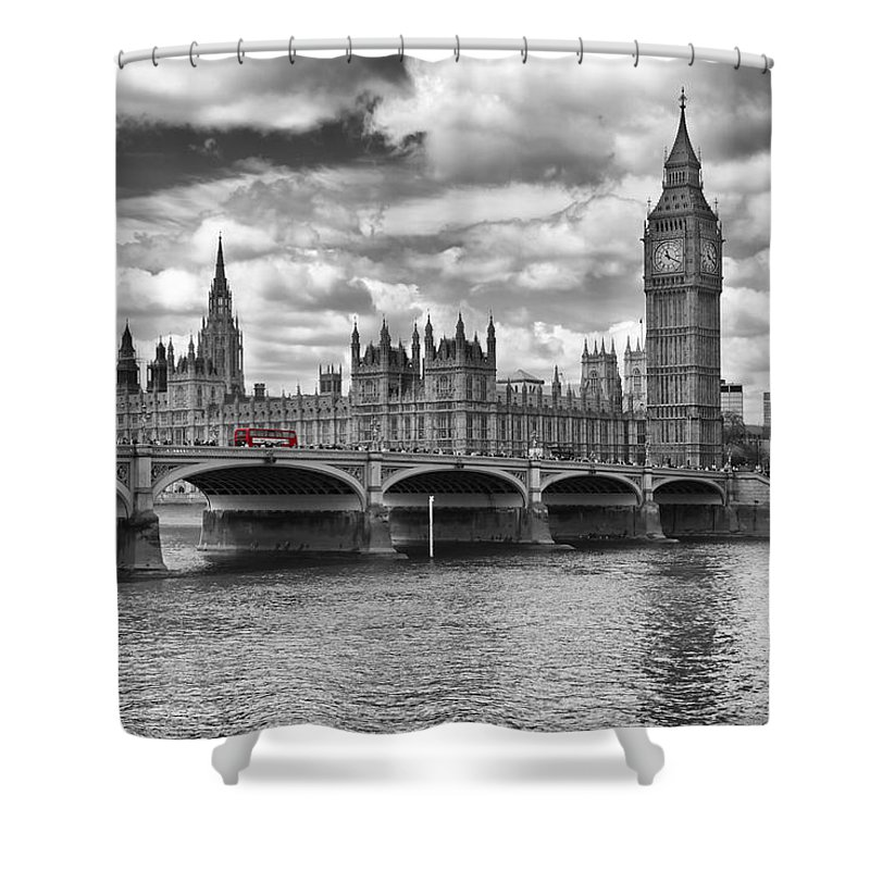 British Shower Curtain featuring the photograph London - Houses Of Parliament And Red Buses by Melanie Viola