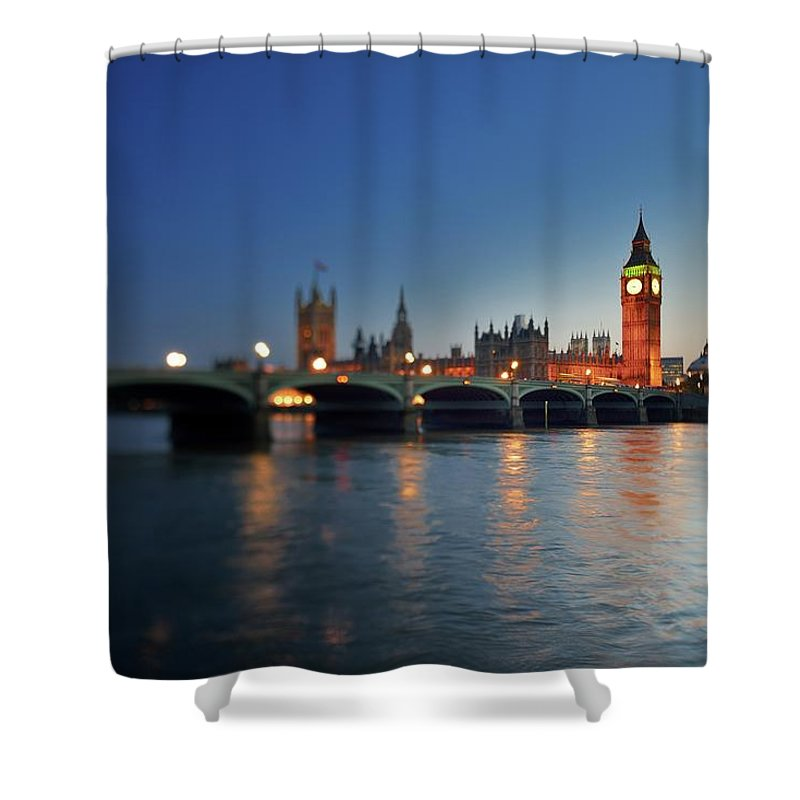 Tranquility Shower Curtain featuring the photograph London, Palace Of Westminster At Sunset by Vladimir Zakharov