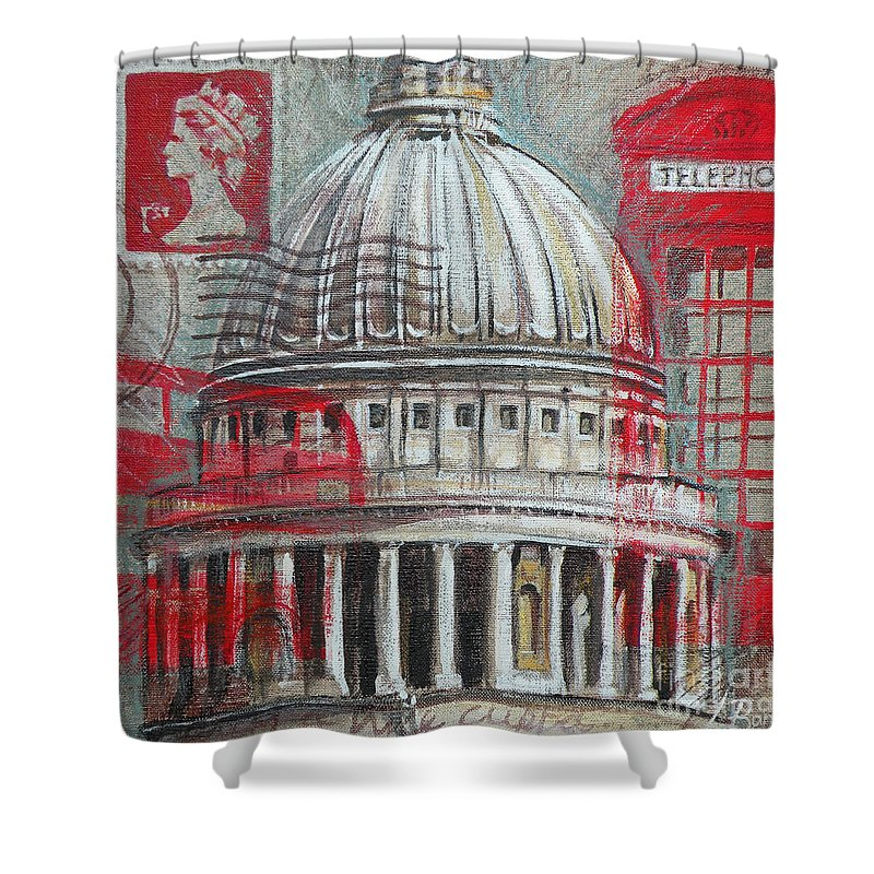 London Shower Curtain featuring the painting London St Paul's Dome by Leigh Banks