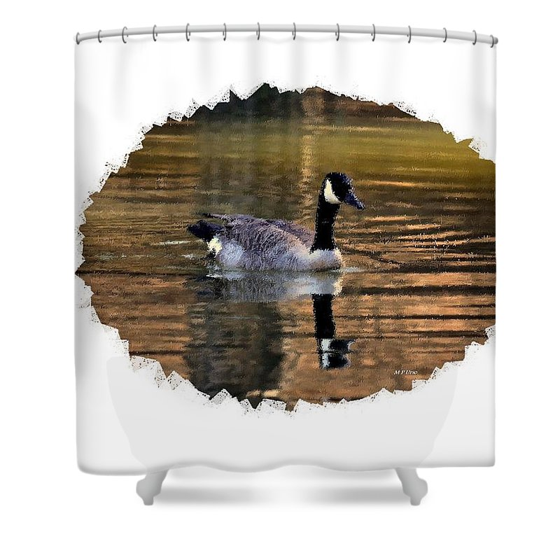 Lone Goose Shower Curtain featuring the digital art Lone Goose by Maria Urso