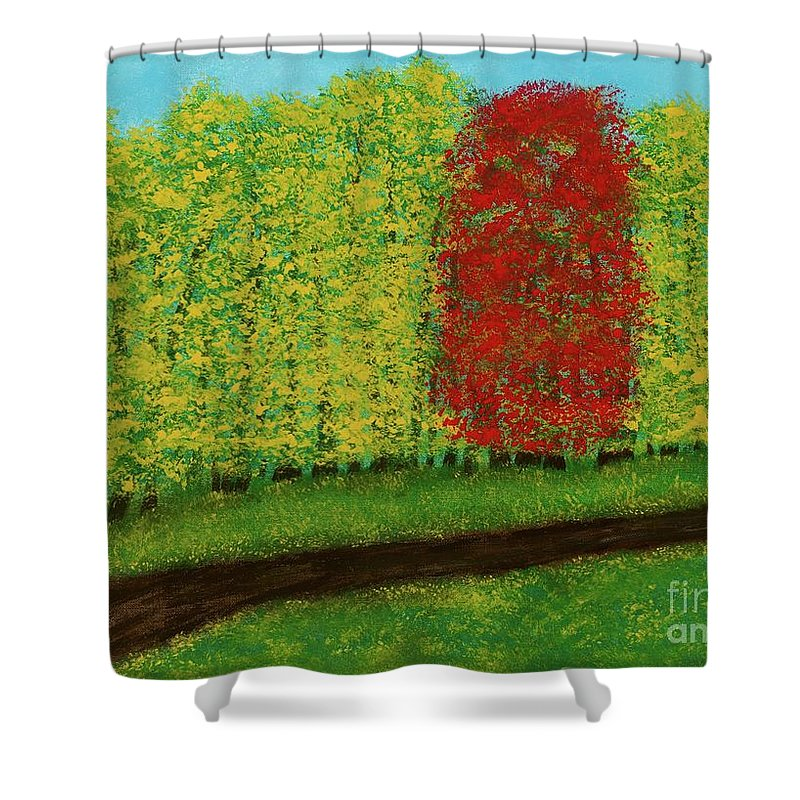 Landscape Shower Curtain featuring the painting Lone Maple Among The Ashes by Hillary Binder-Klein