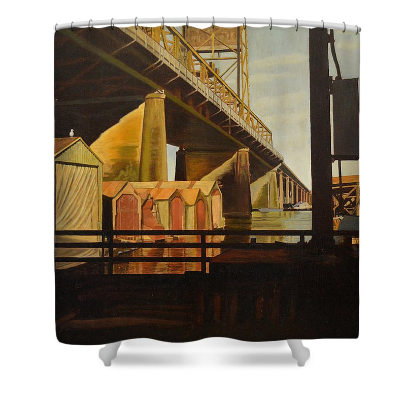 Bridge Shower Curtain featuring the painting Lone Seagull by Thu Nguyen