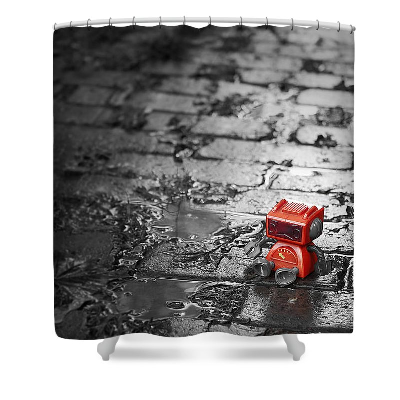 Robot Shower Curtain featuring the photograph Lonely Little Robot by Scott Norris