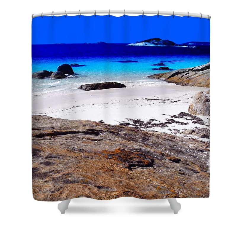 Landscape Shower Curtain featuring the digital art Lonesome Cove by Tim Richards