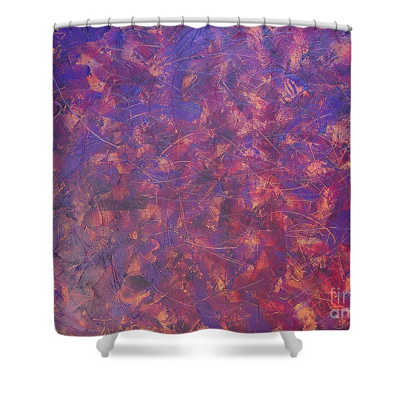 Abstract Shower Curtain featuring the painting Long Beach 5am by Dean Triolo