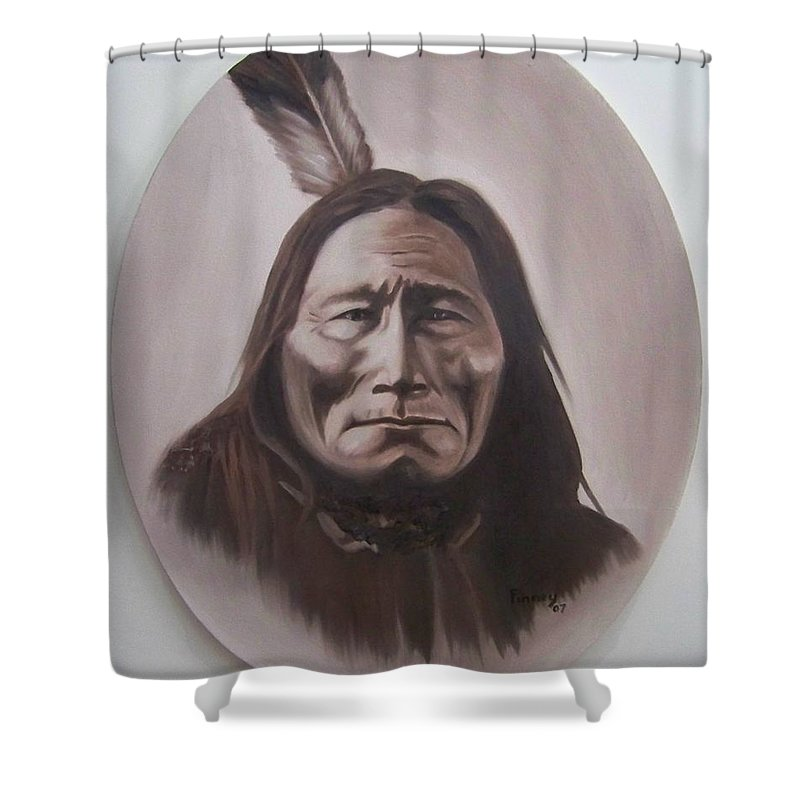 Michael Shower Curtain featuring the painting Long Bear by Michael TMAD Finney