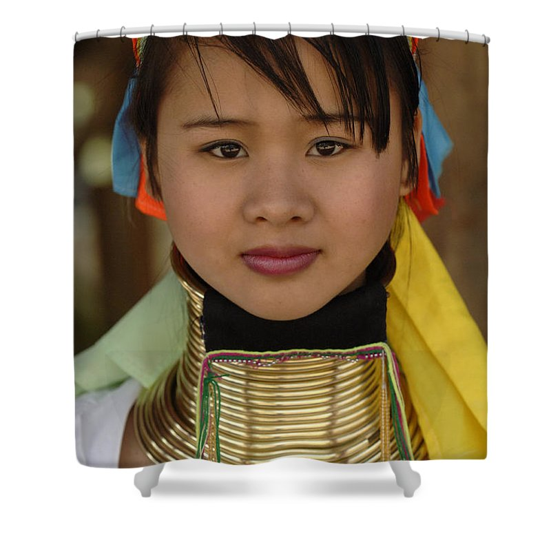 Long Necks Shower Curtain featuring the photograph Long Necked Woman Of Thailand by Bob Christopher