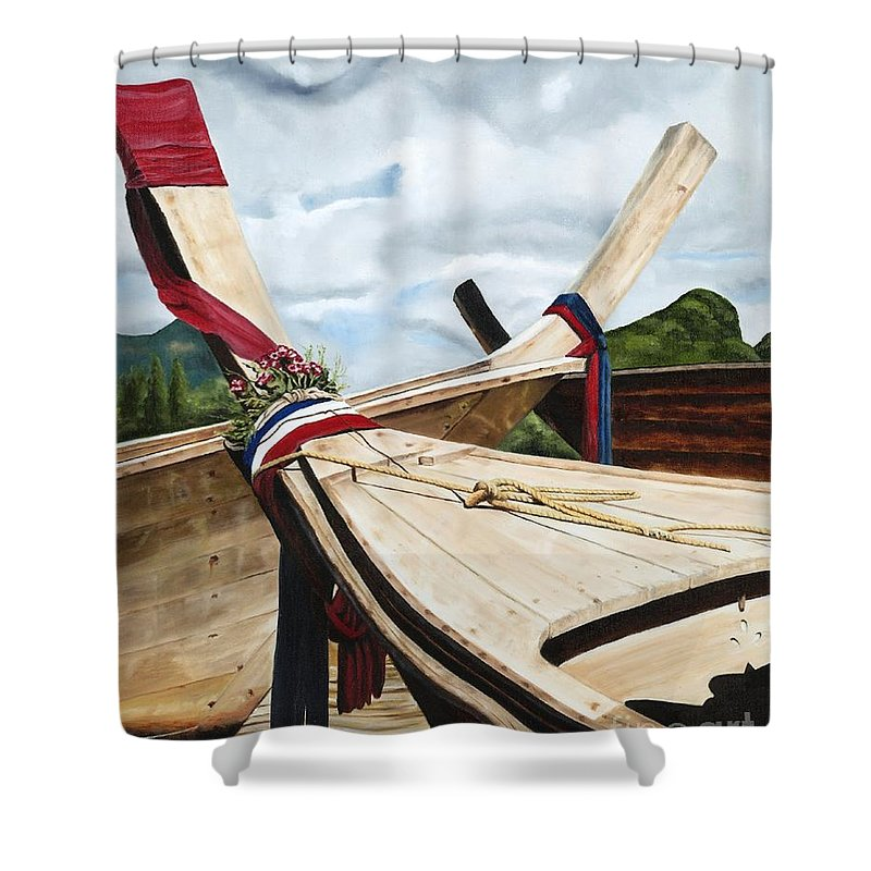 Art Shower Curtain featuring the painting Long Tail Boats Of Krabi by Mary Rogers