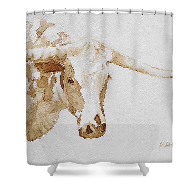 Coffee Shower Curtain Featuring The Painting Longhorn By Judy Fischer Walton