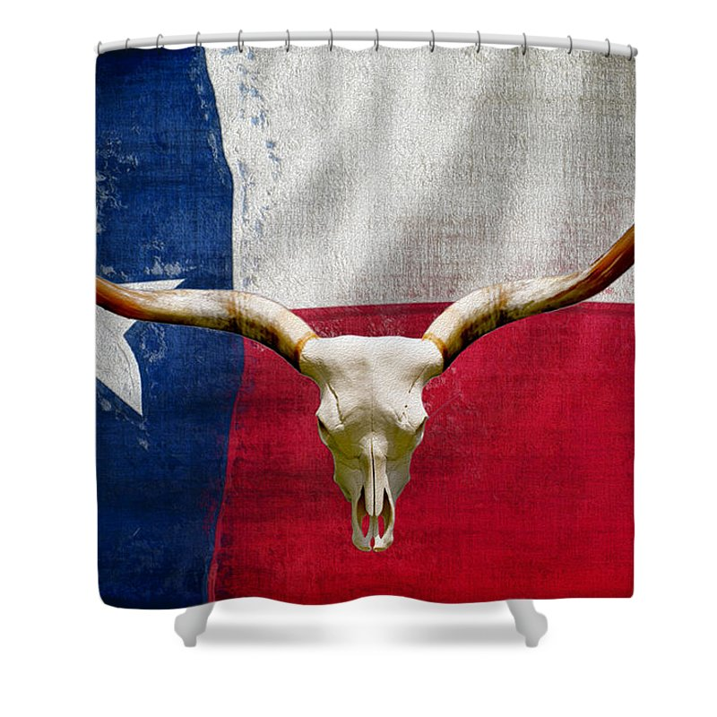 Texas Shower Curtain Featuring The Painting Longhorn Of 2 By Jack Zulli