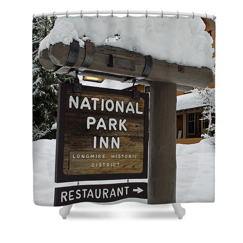 Longmire National Park Shower Curtain featuring the photograph Longmire National Park Inn by Tikvah's Hope