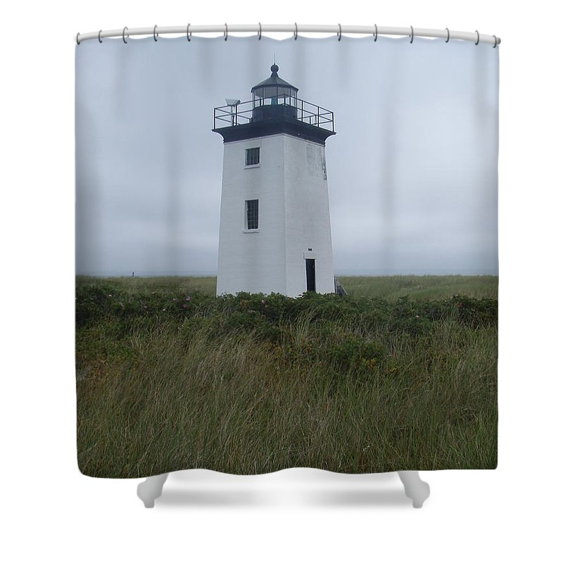 Longpoint Lighthouse Shower Curtain featuring the photograph Longpoint Lighthouse by Robert Nickologianis