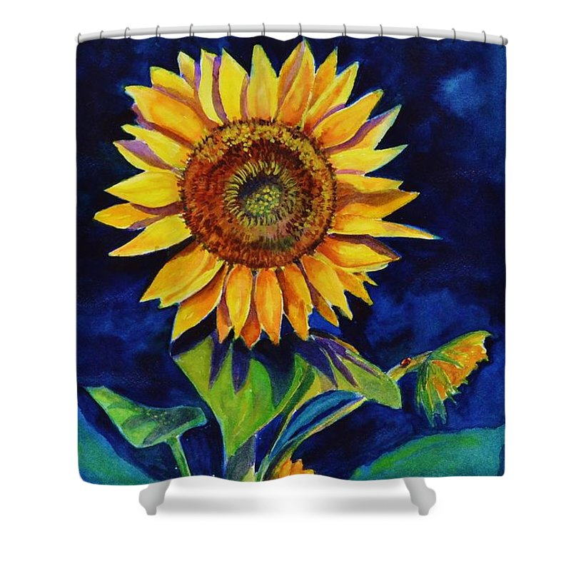 Sun Shower Curtain featuring the painting Midnight Sunflower by Jane Ricker