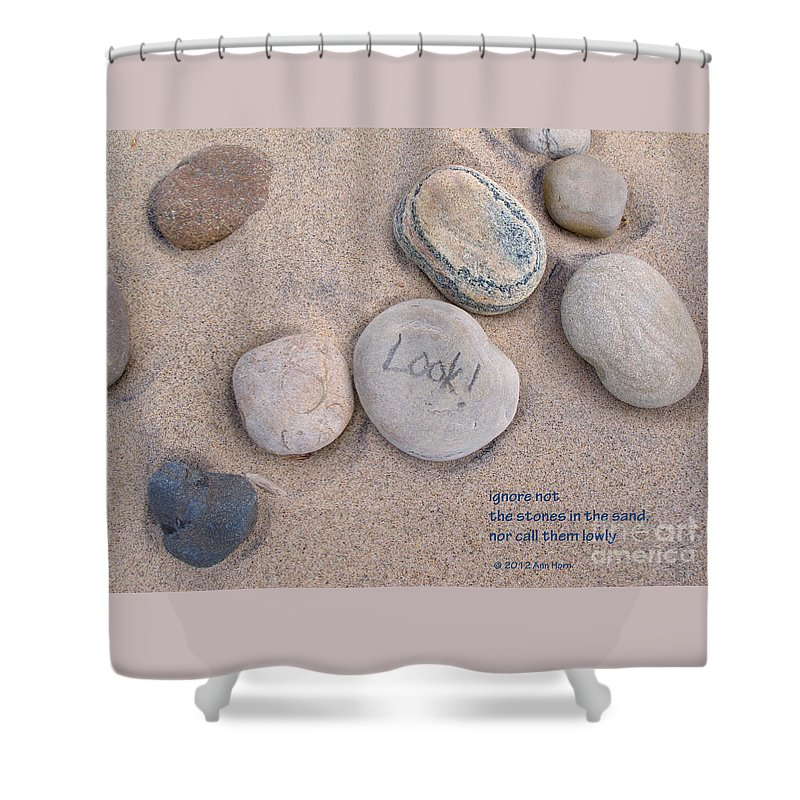 Stones Shower Curtain featuring the photograph Look - With Haiku by Ann Horn