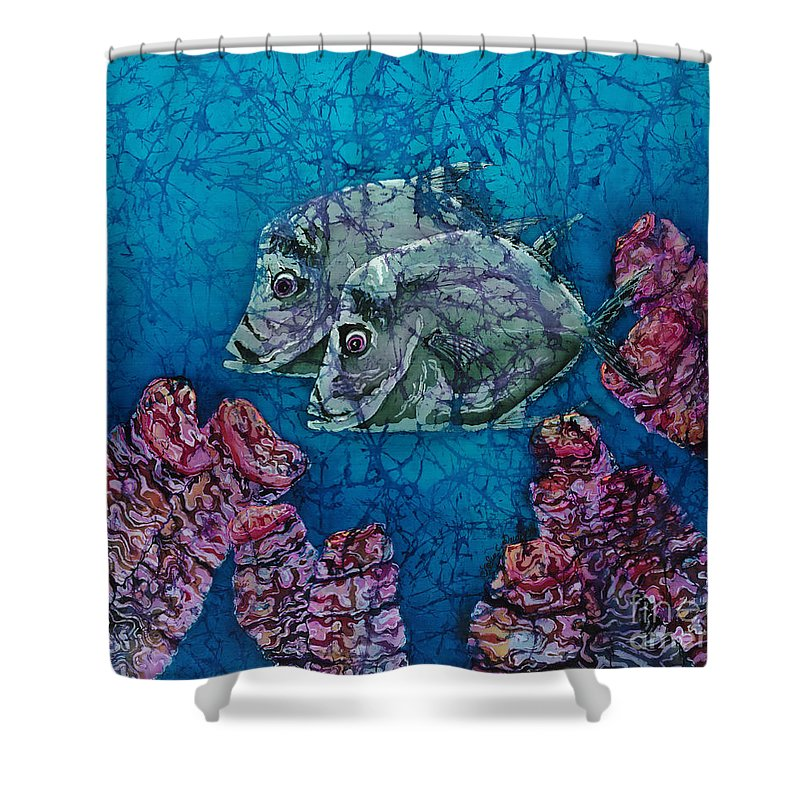 Lookdowns Shower Curtain featuring the painting Lookdowns Pair by Sue Duda