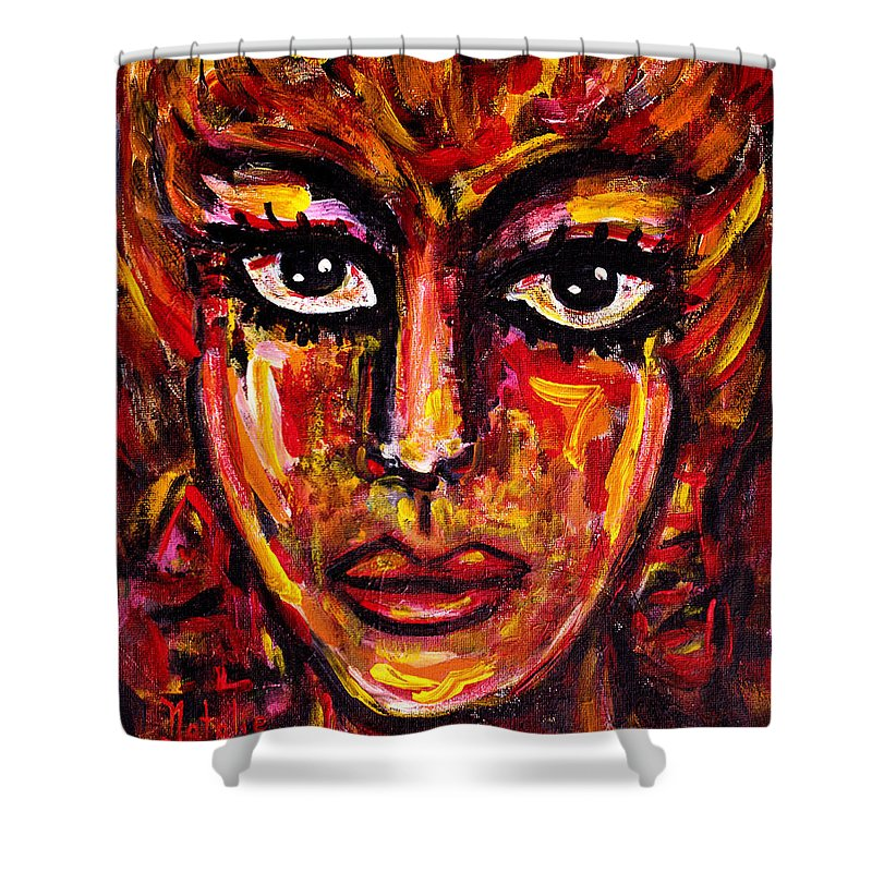 Face Shower Curtain featuring the painting Looking At You by Natalie Holland