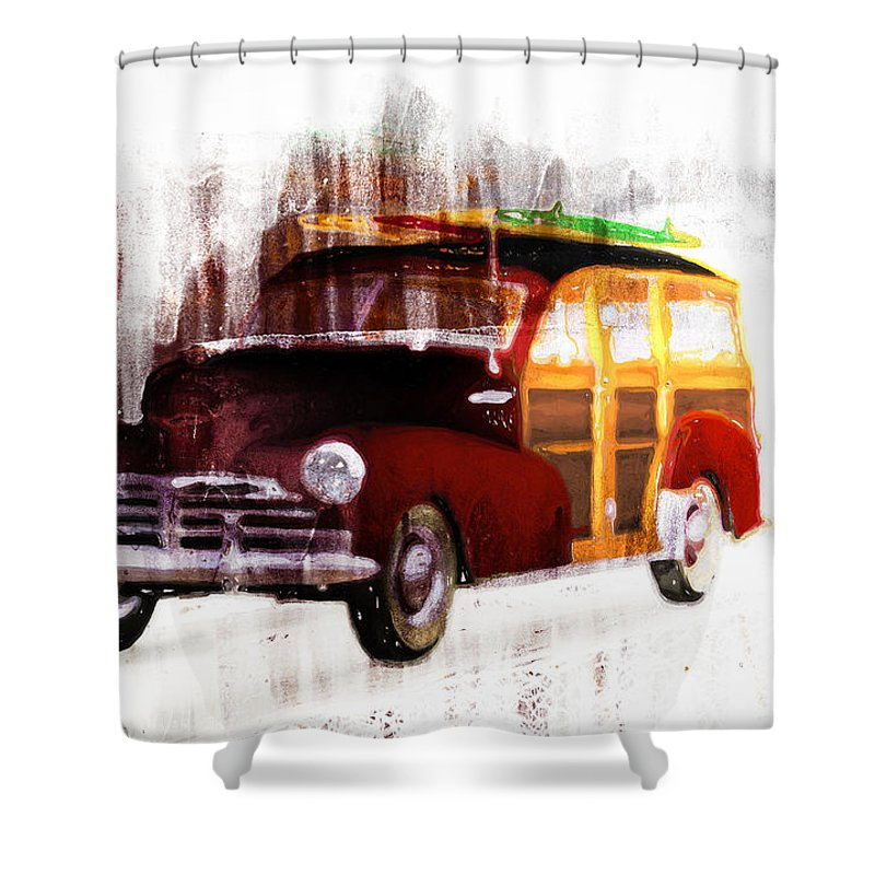 Woody Shower Curtain featuring the painting Looking For Surf City by Bob Orsillo