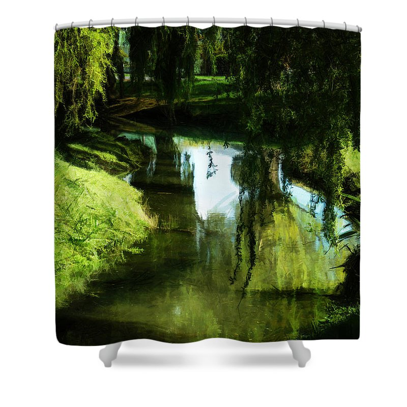 Green Shower Curtain featuring the photograph Looking Green And Serene by Steve Taylor