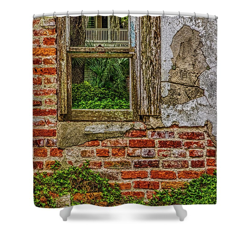Looking Out At Darien Shower Curtain featuring the photograph Looking Out At Darien by Priscilla Burgers