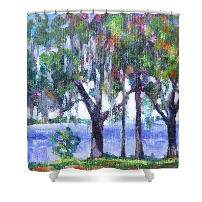 Ocean Bay Shower Curtain featuring the painting Looking Out On The Bay by Jan Bennicoff