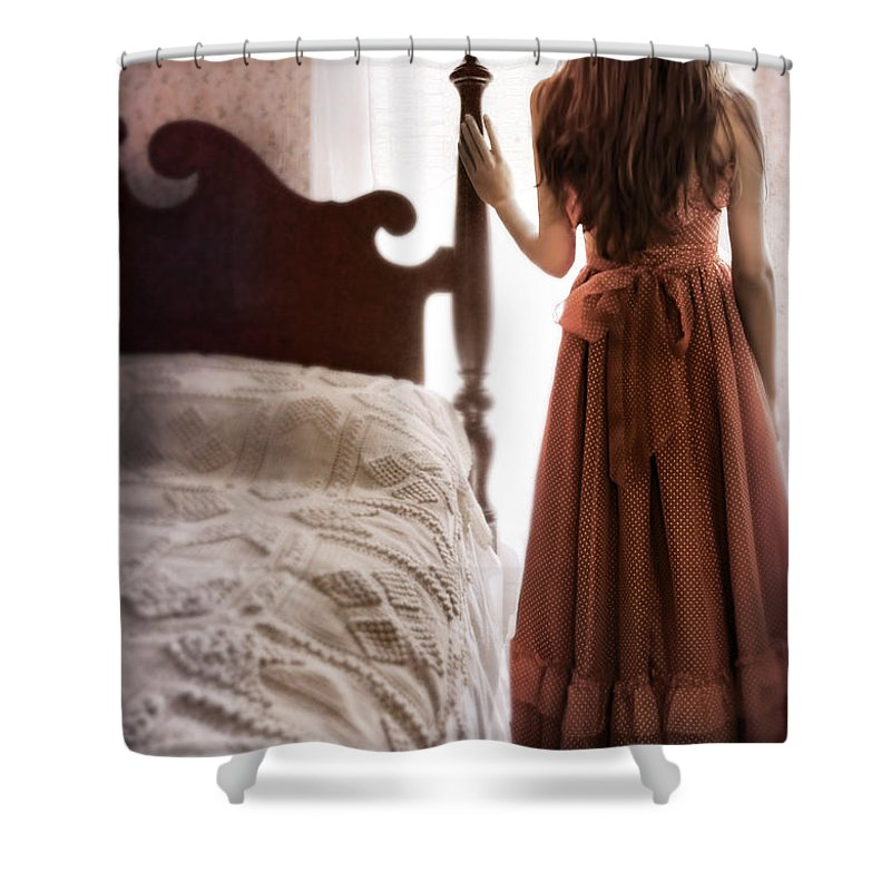 Girl Shower Curtain featuring the photograph Looking Out The Bedroom Window by Jill Battaglia