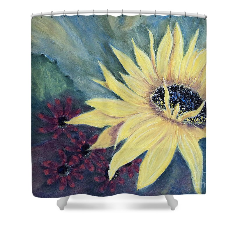 Sunflower Shower Curtain featuring the painting Where Did The Sun Go by Stanza Widen