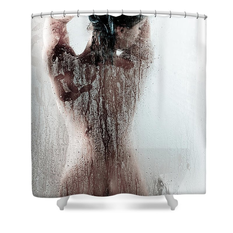 Ass Shower Curtain Featuring The Photograph Looking Through Glass By Jt PhotoDesign