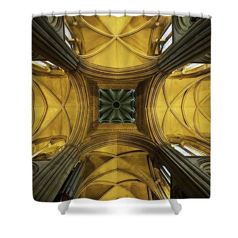 Arch Shower Curtain featuring the photograph Looking Up At A Cathedral Ceiling by James Ingham / Design Pics