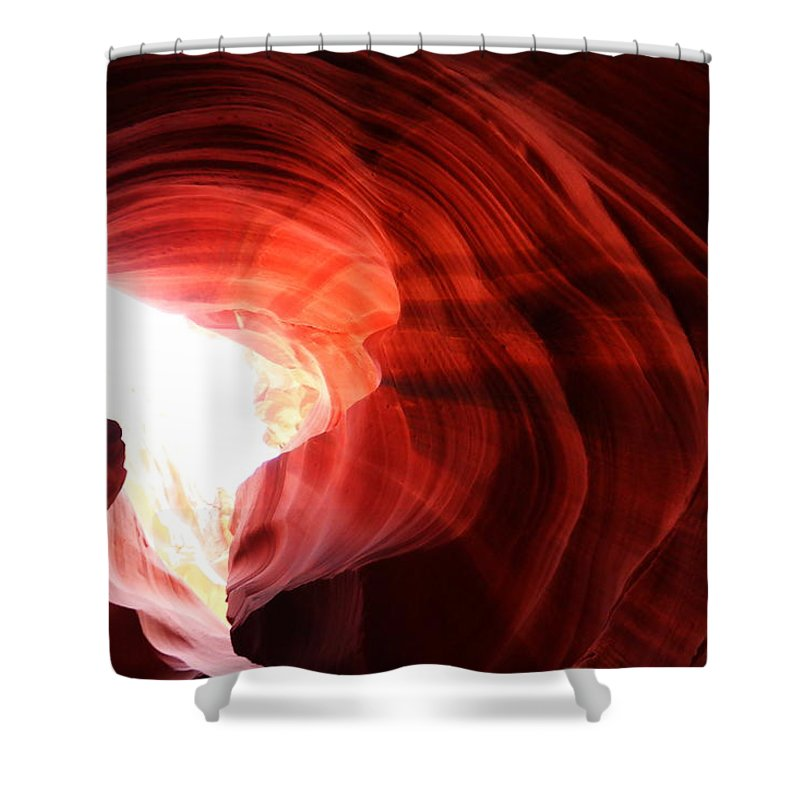 Desert Shower Curtain featuring the photograph Looking Up Through Antelope Canyon by Jeff Swan