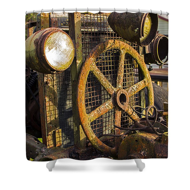 #looproad #everglades #florida #old #rusted #farm #tractor #antique #streetart #zazzle #photog #togs #fineart #deals Shower Curtain featuring the photograph Loop Road 1287 by Steve Lipson